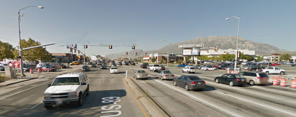 """Looking north. Present conditions of US-89  """"State Street"""" and SR-265 """"University Parkway."""" While the intersection functions now, it'll be a complete disaster by 2040."""